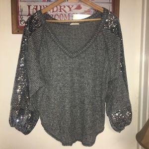 Textured Sequin Oversized Sweater